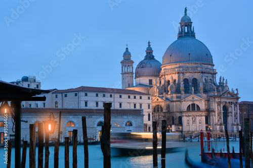 Fototapety, obrazy: Basilica architecture landmark across the Grand canal in Venice at dusk in Italy