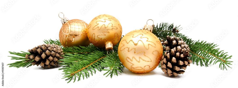 Fototapeta Christmas decoration balls with fir cones