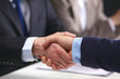 Business handshake. Two businessman shaking hands with each