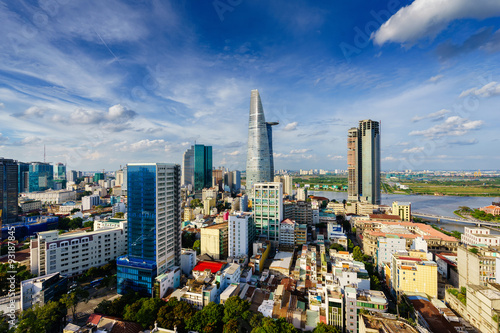 Saigon skyline in sunset, Vietnam. Saigon is the largest city and economic center in Vietnam with population around 10 million people. It is also a popular tourist destination of Asia.