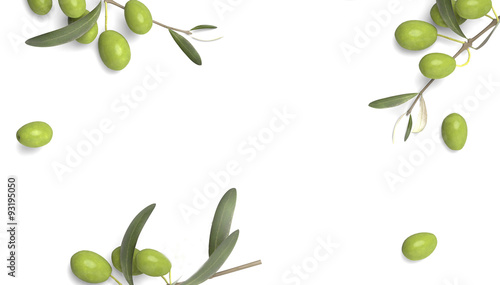 Photo olive branch with drop of oil white background