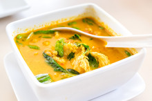 Thai Yellow Curry Soup On Table,Thai Food Style
