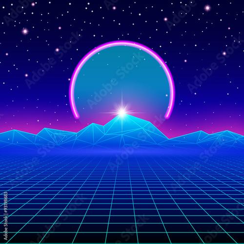 Fotografia  Retro styled futuristic landscape with neon arc