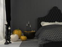 Black Bedroom Decorated For Halloween
