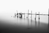 A Long Exposure of an ruined Pier in the Middle of the Sea.Processed in B&W. - 93206035