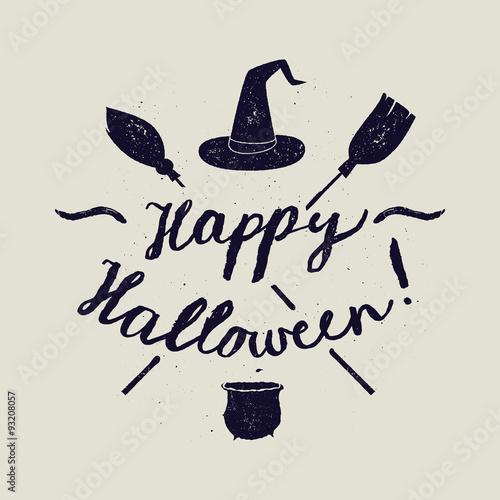 Spoed Fotobehang Halloween halloween broom calligraphy. witch vector lettering.