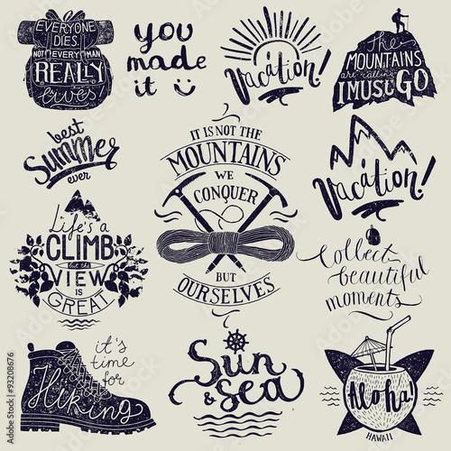 hiking lettering set. travel calligraphy. vector illustration Poster Mural XXL