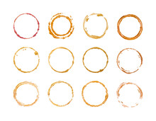 Set Of Gold Round Frames Isolated On White.