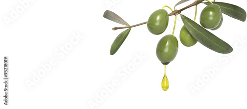 Photo olive branch with oil drop
