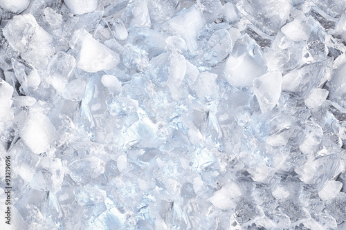background with ice cubes, top view