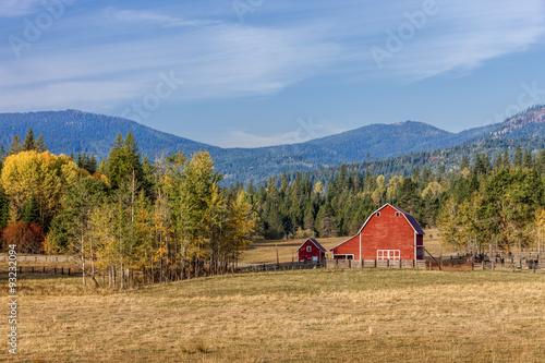 Canvas Prints Autumn Barnyard scene in autumn.