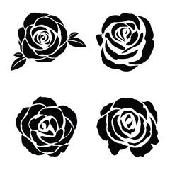 Fototapeta Black silhouette of rose set