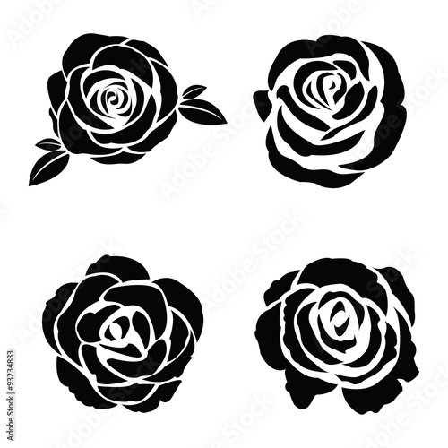 Black silhouette of rose set Poster