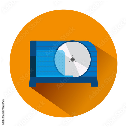 Fotografie, Obraz  The icon with the image of a blue slicer in orange circle