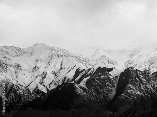 Snow moutains in black and white photography, taken in Ladakh R