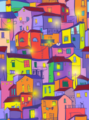 Panel Szklany Podświetlane Kolorowe domki houses