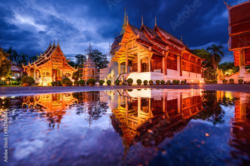 Wall Murals Temple Wat Phra Singh in Chiang Mai, Thailand.