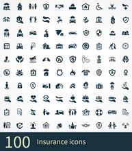 Insurance 100 Icons Universal Set
