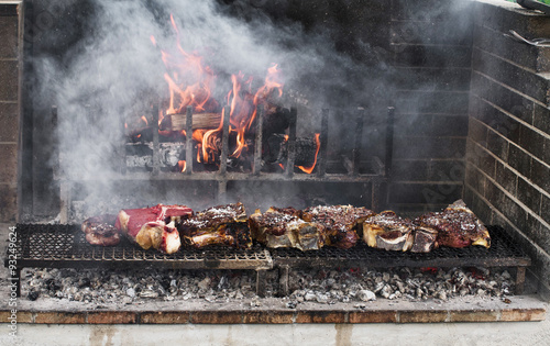 BBQ with florentines steaks Canvas Print