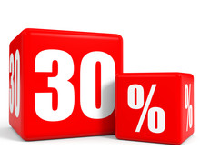 Red Sale Cubes. Thirty Percent Discount.