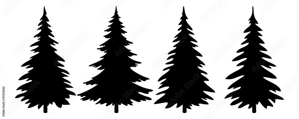 Fototapety, obrazy: Christmas Trees Pictogram Set