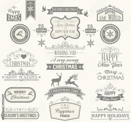 Fototapeta Christmas Label and Design Elements obraz na płótnie