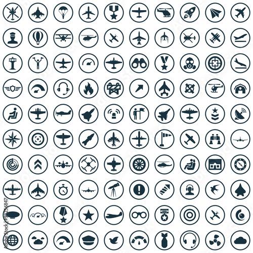 aviation 100 icons universal set Wall mural