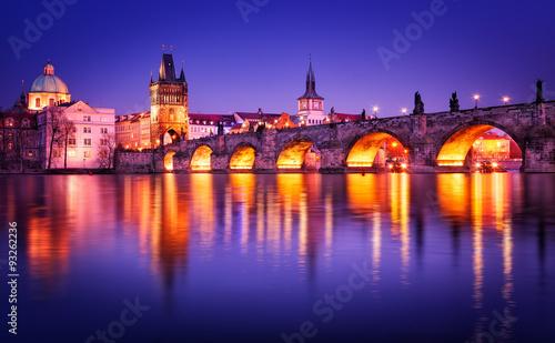 Staande foto Praag Charles bridge water reflection, Prague, Czech republic