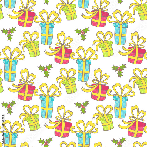 Poster Hibou Christmas seamless pattern with gifts on a white background