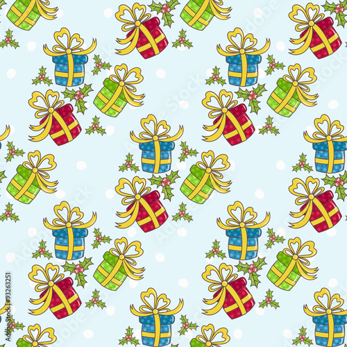 Poster Hibou Christmas seamless pattern with gifts on a blue background