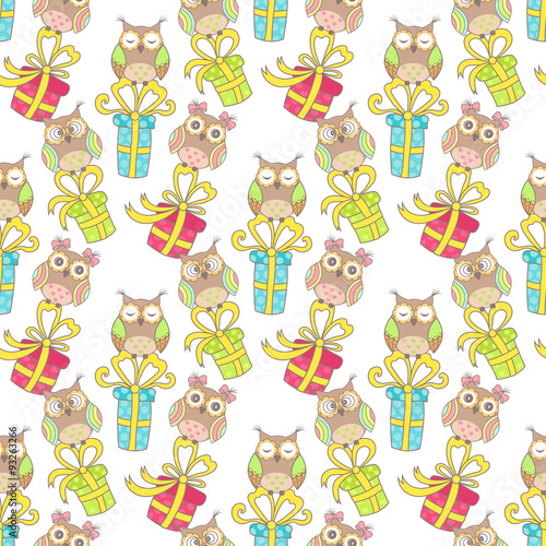 Poster Hibou Christmas seamless pattern with gifts and owls on a white background