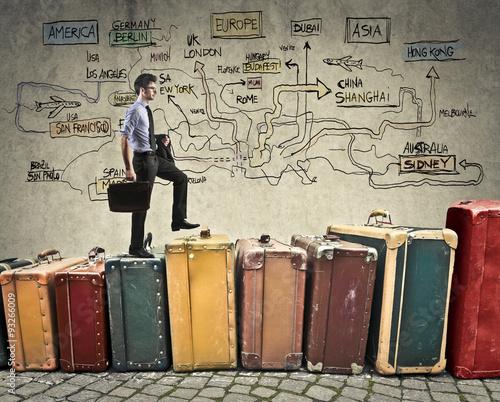 Papiers peints Retro Busy businessman travelling for work