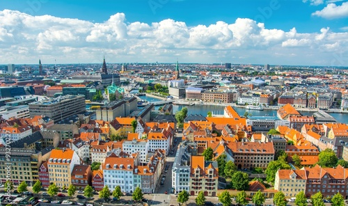 Poster Scandinavie Aerial view of Copenhagen, Denmark