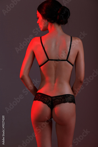 фотография  fashion girl red light in studio