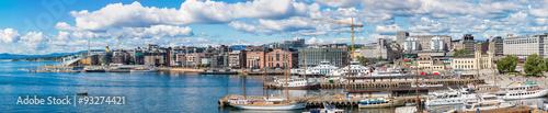 Poster Scandinavie Oslo skyline and harbor. Norway
