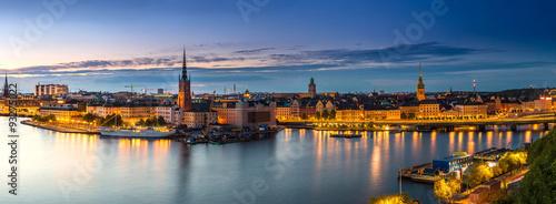 Poster Scandinavie Scenic summer night panorama of Stockholm, Sweden