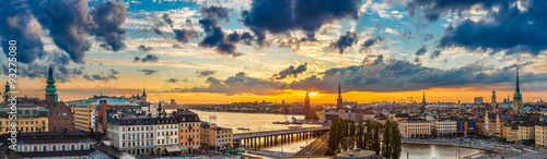 Foto op Canvas Stockholm Scenic summer night panorama of Stockholm, Sweden