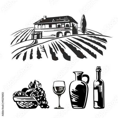 Rural landscape with villa, vineyard fields and hills. Basket with grapes, a bottle, a glass and a jug of wine. Black and white vintage vector illustration for label, poster, web, icon.