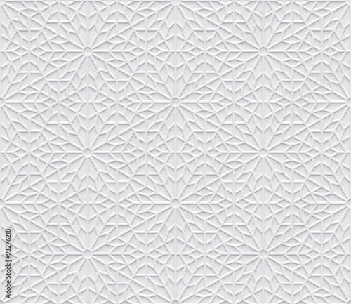 Valokuva  Grey light geometric pattern in arabic style, soft emboss background