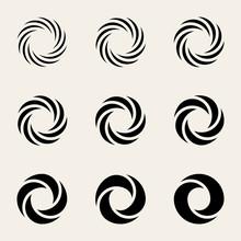 Set Of Nine Vector Twisting Circes Logo Design Elements