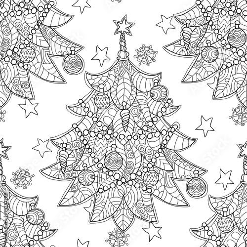 Stoffe zum Nähen Frohe Weihnachten-Zentangle-Tanne doodle. Die Hand gezeichnete Vektor Hintergrund mit Weihnachtsschmuck, Weihnachtsbaum, Ball, Sterne und Schneeflocken.