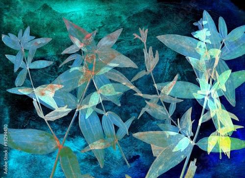Abstrakcjonistyczny akwareli tło i gałąź roślina. Różne środki przekazu