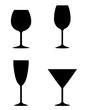 isolated wine glass set