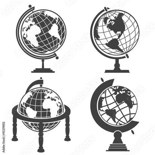 Fototapeta Earth globe illustration monochrome set obraz