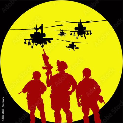 Poster de jardin Militaire Vector silhouette of tree soldiers with helicopter on the backgr