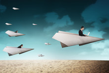 Business People Race With Paper Plane Going For Better Career