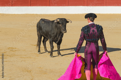 Poster Stierenvechten Bullfighter in front of the bull