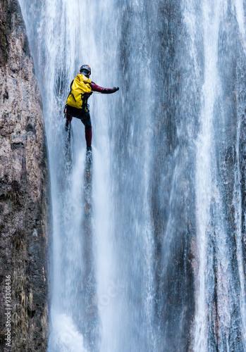 Barranquismo en una cascada Canvas Print