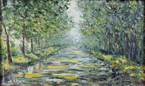 Cadres-photo bureau Olive road in the summer forest, oil painting