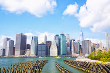 Manhattan Skyline Seen From Brooklyn Bridge Park, New York